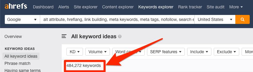 so luong tu khoa Ahrefs Keywords Explorer cung cap