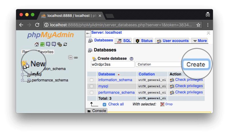 tao wordpress databasse