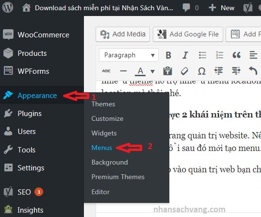 huong dan tạo menu trong wordpress