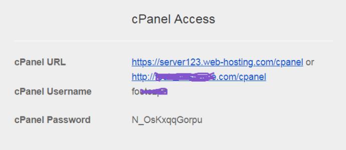 thông tin đăng nhâp cPanel