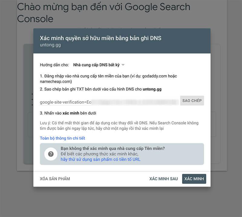 Hướng Dẫn Xác Minh Tên Miền Trên Google Search